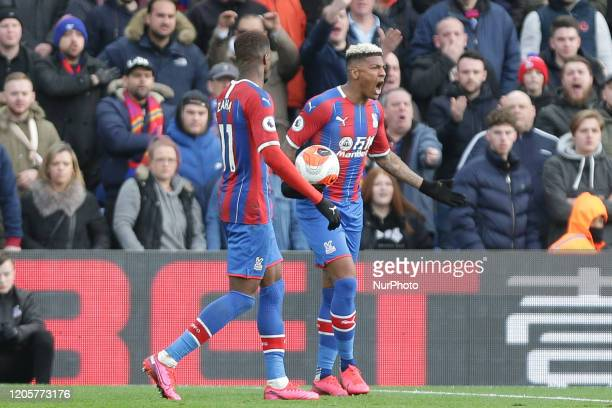Patrick Van Aanholt of Crystal Palace reacts during the Premier League match between Crystal Palace and Watford at Selhurst Park London on Saturday...