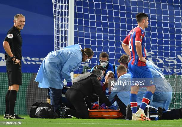 Patrick van Aanholt of Crystal Palace receives oxygen following an injury during the Premier League match between Crystal Palace and Manchester...