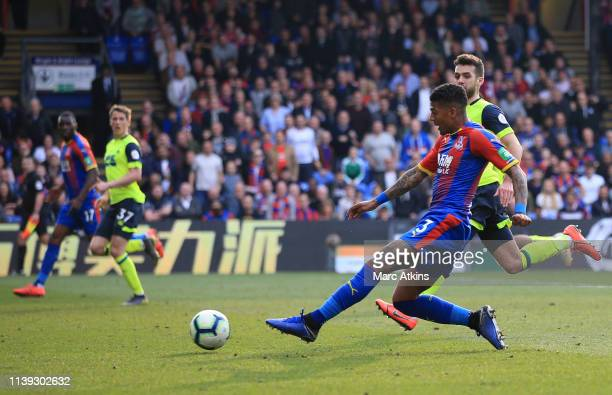 Patrick Van Aanholt of Crystal Palace scores his team's second goal during the Premier League match between Crystal Palace and Huddersfield Town at...