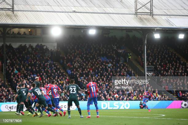 Patrick van Aanholt of Crystal Palace scores his team's second goal during the Premier League match between Crystal Palace and Newcastle United at...