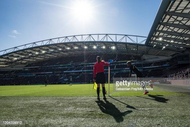 Patrick van Aanholt of Crystal Palace take corner kick during the Premier League match between Brighton Hove Albion and Crystal Palace at American...