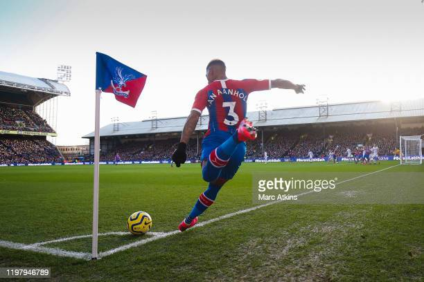 Patrick van Aanholt of Crystal Palace takes a corner during the Premier League match between Crystal Palace and Sheffield United at Selhurst Park on...