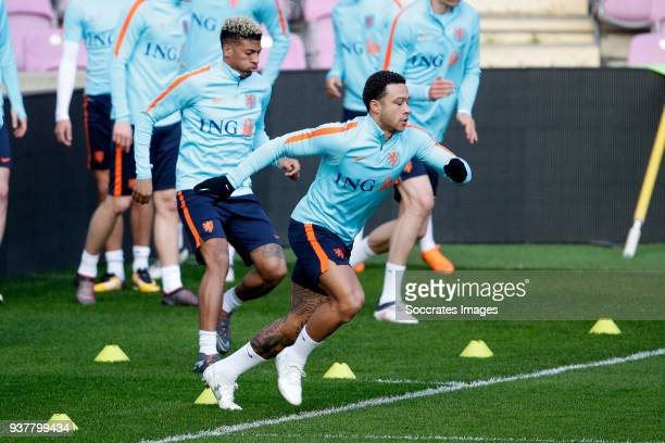 Patrick van Aanholt of Holland Memphis Depay of Holland during the Training Holland in Geneve at the Stade de Geneve on March 25 2018 in Geneve...