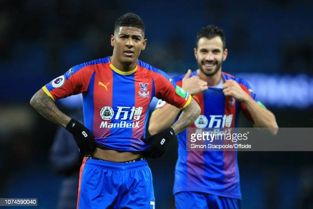 Patrick van Aanholt of Palace and Luka Milivojevic of Palace remove their shirts after the Premier League match between Manchester City and Crystal...