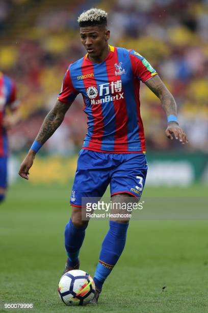 Patrick van Aanholt of Palace in action during the Premier League match between Watford and Crystal Palace at Vicarage Road on April 21 2018 in...