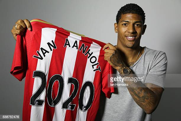 Patrick van Aanholt of Sunderland AFC pictured after agreeing a contract extension with the club until 2020 at The Academy of Light on June 8 2016 in...