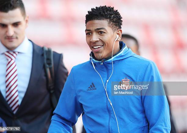 Patrick van Aanholt of Sunderland arrives at the stadiium prior to the the Premier League match between Sunderland and Liverpool at Stadium of Light...