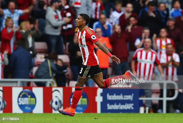 Patrick van Aanholt of Sunderland celebrates scoring his sides second goal during the Premier League match between Sunderland and West Bromwich...