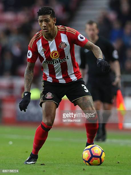 Patrick van Aanholt of Sunderland controls the ball during the Premier League match between Sunderland and Watford at Stadium of Light on December 17...