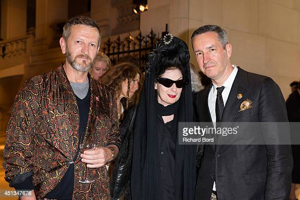 Patrick Vangheluwe Diane Pernet and Stylist Dries Van Noten and Illustrator Richard Haines attend the Dries Van Noten Exhibition Party as part of the...