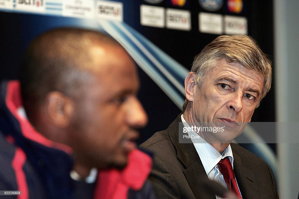 Patrick Vieira, Captain of Arsenal and Arsene Wenger the Arsenal Manager talk to the Press on the Eve of the Champions League Match against Bayern Munich on February 21, 2005 in Munich, Germany.