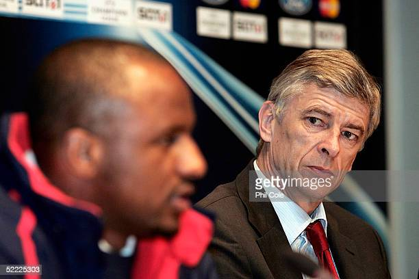 Patrick Vieira Captain of Arsenal and Arsene Wenger the Arsenal Manager talk to the Press on the Eve of the Champions League Match against Bayern...