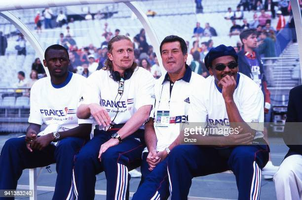 Patrick Vieira Emmanuel Petit Roger Lemerre and Bernard Lama of France during the Soccer World Cup semi final match between France and Croatia on...