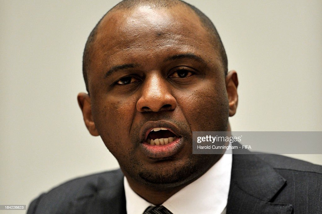 Patrick Vieira (R), Football Development Executive at Manchester City Football Club, delivers a speech during the discussion panel on the International Day for the Elimination of Racial Discrimination at United Nations Office in Geneva on March 21, 2013 in Geneva, Switzerland. On the United Nations' (UN) International Day for the Elimination of Racial Discrimination, the Office of the High Commissioner for Human Rights (OHCHR) see today as a unique opportunity to celebrate diversity and urged all sportswomen and sportsmen, sports authorities and fans to take decisive action against intolerance and racism in sports and celebrate human achievement and excellence beyond the narrow boundaries of ethnicity, race or nationality.