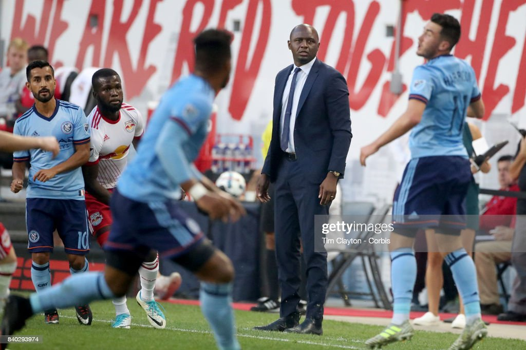 Patrick Vieira, head coach of New York City FC on the sideline during the New York Red Bulls Vs New York City FC MLS regular season match at Red Bull Arena, Harrison, New Jersey on August 25, 2017 in Harrison, New Jersey.