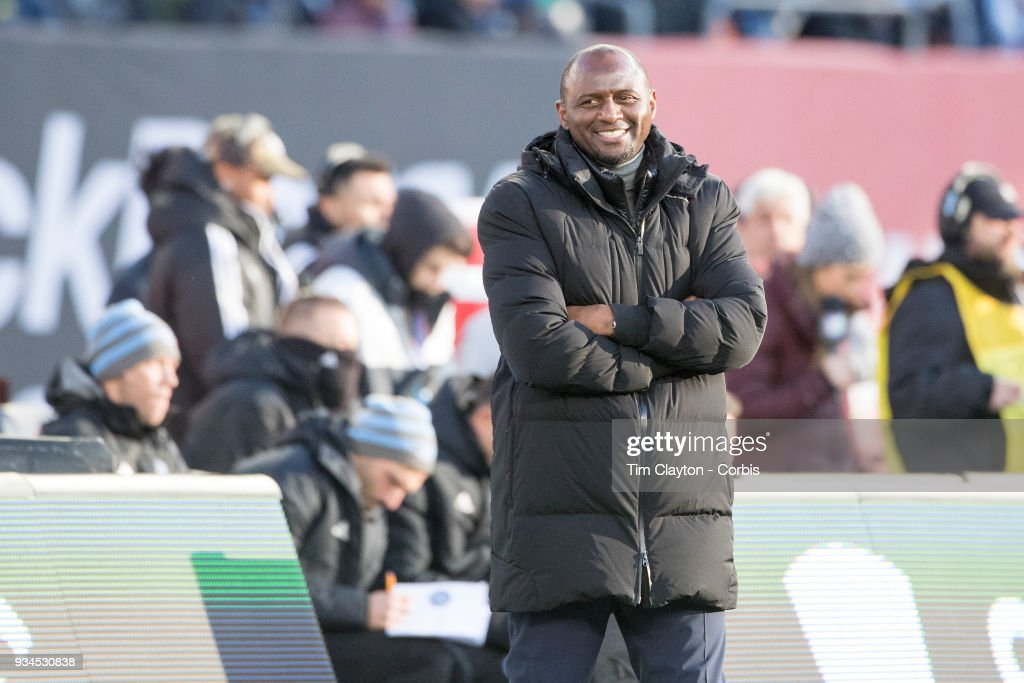 Patrick Vieira, head coach of New York City FC on the sideline during the New York City FC Vs Orlando City SC regular season MLS game at Yankee Stadium on March 17, 2018 in New York City.