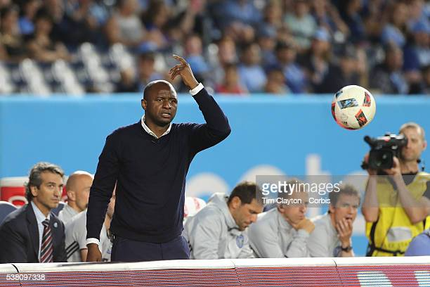 Patrick Vieira head coach of NYCFC reacts on the sideline during his sides 32 loss in the NYCFC Vs Real Salt Lake regular season MLS game at Yankee...
