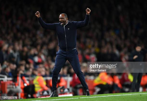 Patrick Vieira, Manager of Crystal Palace celebrates his sides 2nd goal during the Premier League match between Arsenal and Crystal Palace at...