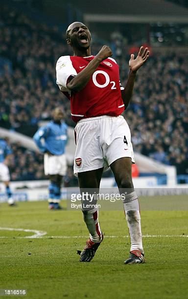 Patrick Vieira of Arsenal celebrates scoring the fifth goal during the FA Barclaycard Premiership match between Manchester City and Arsenal held on...