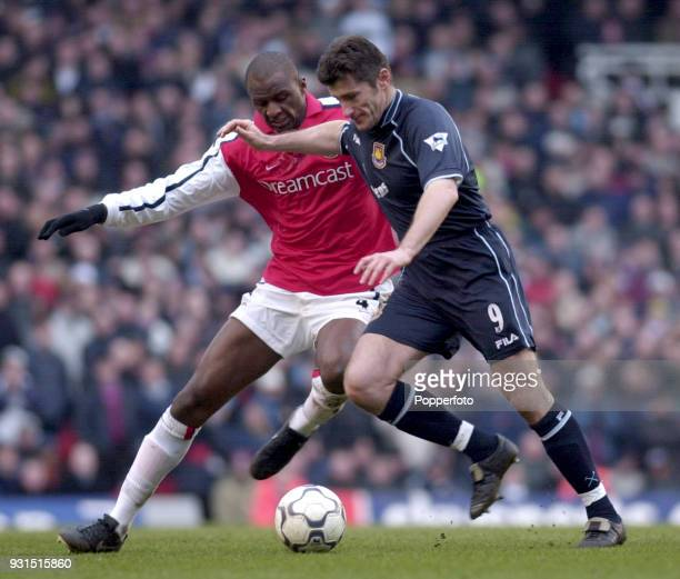 Patrick Vieira of Arsenal challenges Davor Suker of West Ham United in action during the FA Carling Premiership match between Arsenal and West Ham...