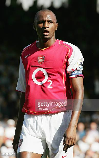 Patrick Vieira of Arsenal in action during the Barclays Premiership match between Fulham and Arsenal at Craven Cottage on September 11 2004 in London