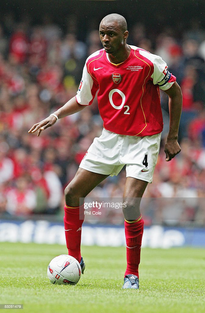 Patrick Vieira of Arsenal in action during the FA Cup Final between Arsenal and Manchester United at The Millennium Stadium on May 21, 2005 in Cardiff, Wales. Arsenal won 5-4.