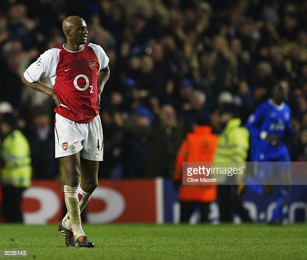 Patrick Vieira of Arsenal looks dejected after Chelsea score their second goal during the UEFA Champions League Quarter Final Second Leg match...