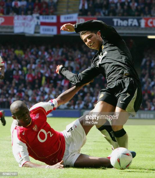 Patrick Vieira of Arsenal tackles and fouls Ronaldo of Manchester United on the edge of the penalty area during the FA Cup Final between Arsenal and...