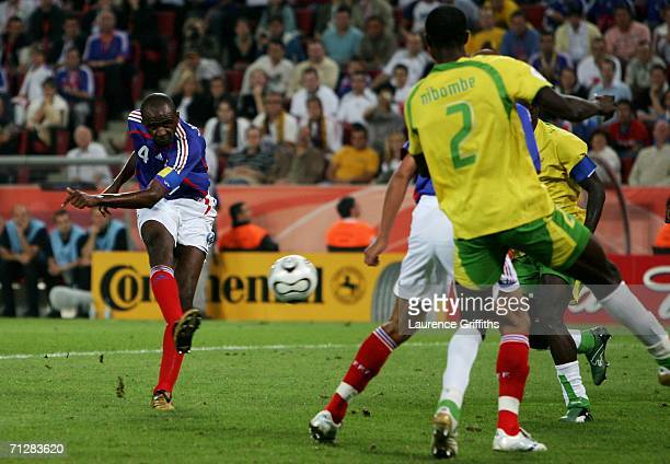 Patrick Vieira of France shoots and scores the first goal of the game during the FIFA World Cup Germany 2006 Group G match between Togo and France at...