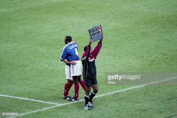 Patrick Vieira of France substitutes Youri Djorkaeff of France during the Soccer World Cup Final between Brazil and France on July 12 1998 in Paris...