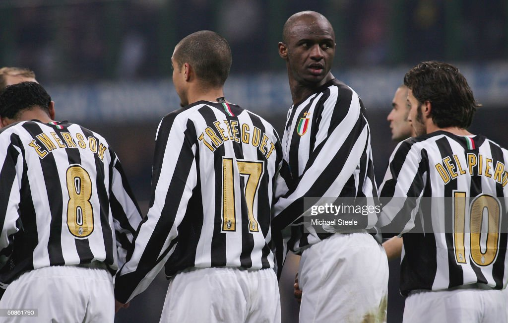 Patrick Vieira of Juventus stands in the defensive wall during the Serie A match between Inter Milan and Juventus at the Stadio San Siro on February 12, 2006 in Milan, Italy.