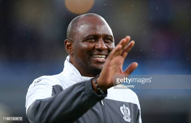 Patrick Vieira the manager of Nice looks on during a pre-season friendly match between Burnley and Nice at Turf Moor on July 30, 2019 in Burnley,...