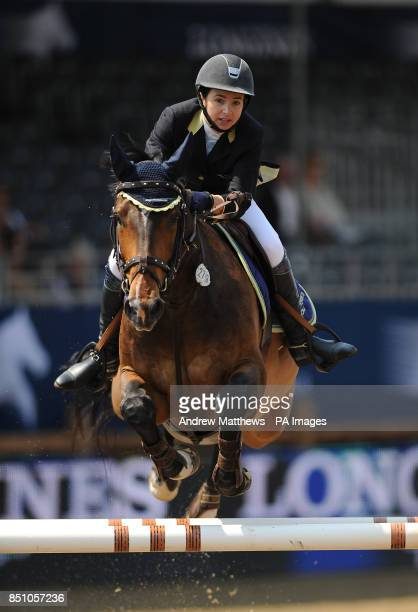 Patrick VII ridden by Great Britain's Jane Davies jumps during the Longines Global Champions Tour at the Olympic Park Stratford London
