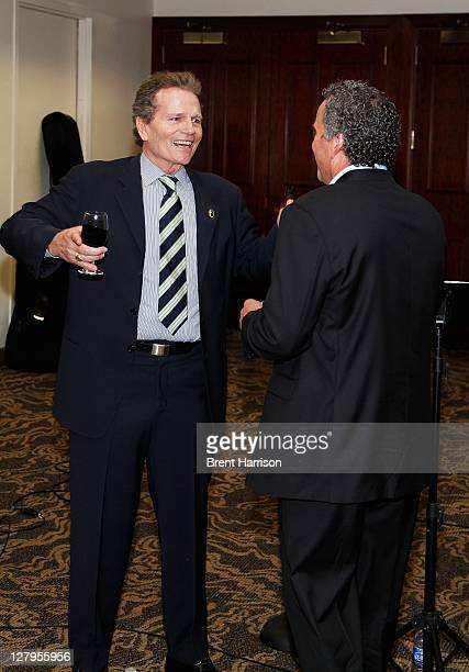 Patrick Wayne and Ethan Wayne attend the Heritage Auctions John Wayne Auction special VIP press reception at the Hyatt Regency Century Plaza on...