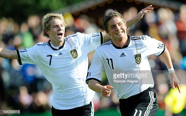 Patrick Weihrauch of Germany celebrates after scoring his teams first goal during the U17 international friendly match between Germany and Israel at...