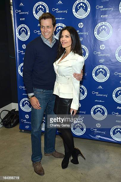 Patrick Whitesell and TV personality Lauren Sanchez attends Summit on the Summit's World Water Day Photo Exhibit at Siren Studios on March 22 2013 in...