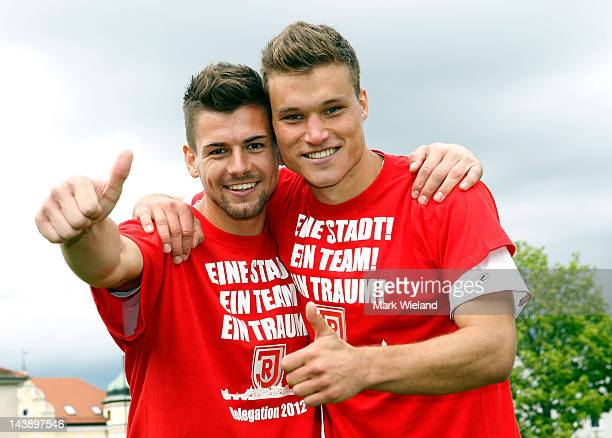 Patrick Wiegers and Thomas Kurz of Jahn Regensburg celebrate after the Third League match between Jahn Regensburg and CZ Jena on May 5 2012 in...