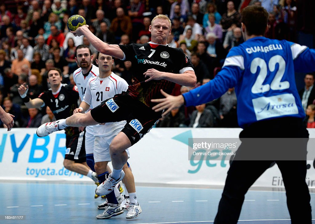 Patrick Wiencek of Germany goes for a goal during the DHB International Friendly match between Germany and Switzerland at Conlog-Arena on March 10, 2013 in Koblenz am Rhein, Germany.
