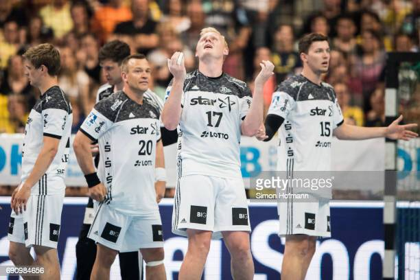Patrick Wiencek of Kiel reacts during the DKB HBL match between RheinNeckar Loewen and THW Kiel at SAP Arena on May 31 2017 in Mannheim Germany