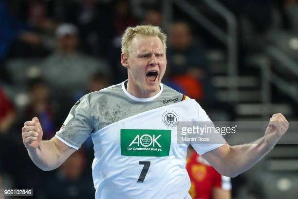 Patrick Wieneck of Germany celebrates during the Men's Handball European Championship Group C match between Germany and FYR Macedonia at Arena Zagreb...
