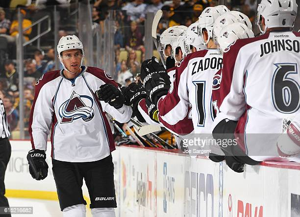 Patrick Wiercioch of the Colorado Avalanche celebrates his first period goal against Pittsburgh Penguins at PPG Paints Arena on October 17 2016 in...