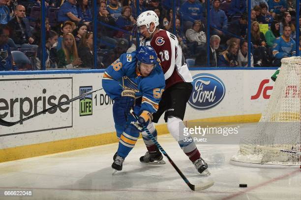 Patrick Wiercioch of the Colorado Avalanche defends against Magnus Paajarvi of the St Louis Blues on April 9 2017 at Scottrade Center in St Louis...