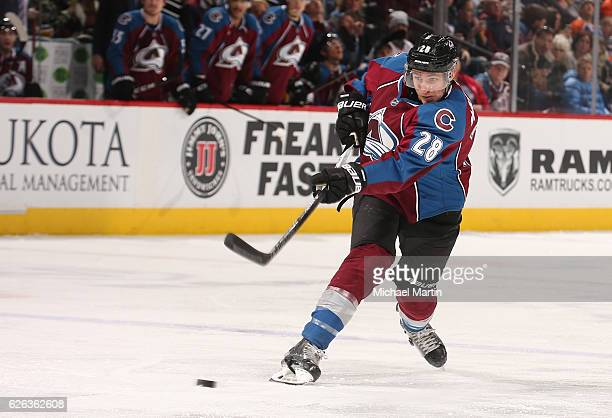 Patrick Wiercioch of the Colorado Avalanche shoots against the Edmonton Oilers at the Pepsi Center on November 23 2016 in Denver Colorado The Oilers...