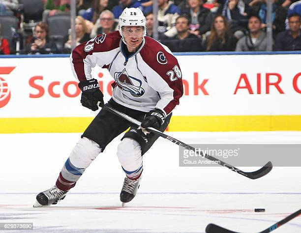 Patrick Wiercioch of the Colorado Avalanche skates against the Toronto Maple Leafs during an NHL game at the Air Canada Centre on December 11 2016 in...