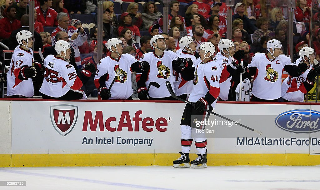 Patrick Wiercioch #46 of the Ottawa Senators celebrates against the Washington Capitals during the third period of the Senators 6-4 win at Verizon Center on November 27, 2013 in Washington, DC.