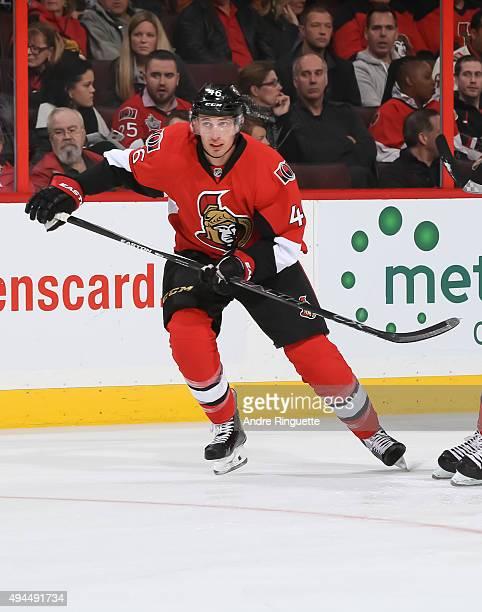 Patrick Wiercioch of the Ottawa Senators skates against the Arizona Coyotes at Canadian Tire Centre on October 24 2015 in Ottawa Ontario Canada
