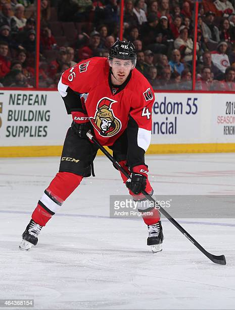 Patrick Wiercioch of the Ottawa Senators skates against the Florida Panthers at Canadian Tire Centre on February 21 2015 in Ottawa Ontario Canada