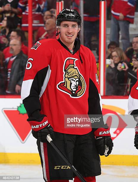 Patrick Wiercioch of the Ottawa Senators smiles during warm up prior to a game against the Montreal Canadiens at Canadian Tire Centre on February 18...