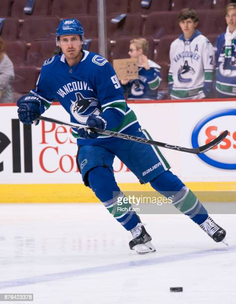 Patrick Wiercioch of the Vancouver Canucks skates during the pregame warm up prior to NHL action against the Vegas Golden Knights on November 2017 at...