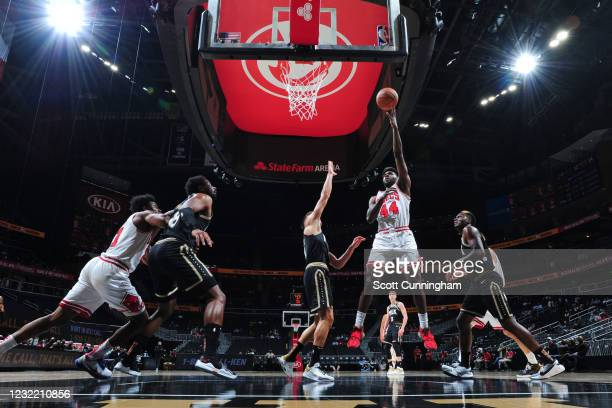 Patrick Williams of the Chicago Bulls drives to the basket against the Atlanta Hawks on April 9, 2021 at State Farm Arena in Atlanta, Georgia. NOTE...